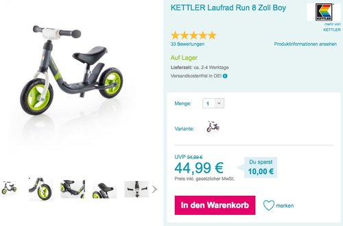 KETTLER Laufrad Run 8 Zoll Boy - jetzt 9% billiger
