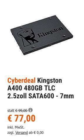 Kingston SSD A400 480GB interne SSD Festplatte - jetzt 14% billiger