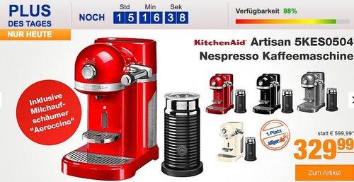 """KitchenAid Artisan 5KES0504 Nespresso Kaffeemaschine inkl. Milchaufschäumer """"Aeroccino"""" - jetzt 8% billiger"""