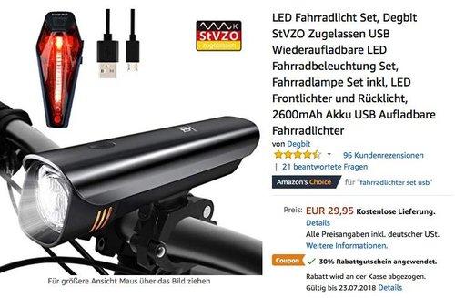 LED Fahrradlicht Set Degbit StVZO zugelassen USB Wiederaufladbare LED Fahrradbeleuchtung Set - jetzt 30% billiger