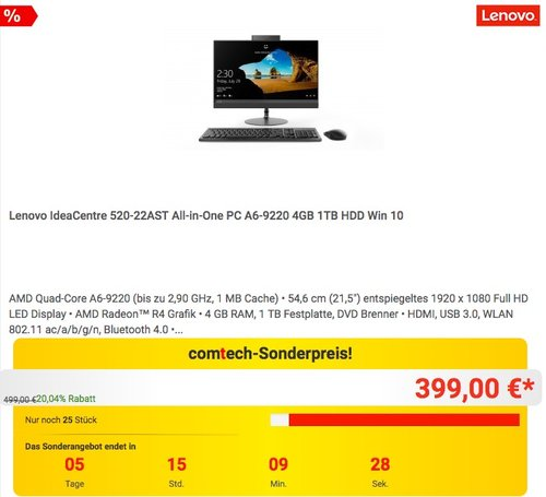 Lenovo IdeaCentre 520-22AST All-in-One PC A6-9220 4GB 1TB HDD Win 10 - jetzt 20% billiger