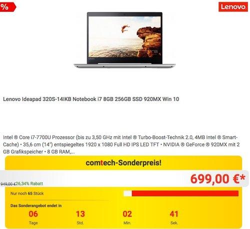 Lenovo Ideapad 320S-14IKB Notebook i7 8GB 256GB SSD 920MX Win 10 - jetzt 13% billiger