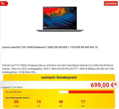 Lenovo IdeaPad 720-15IKB Notebook i7 8GB 256 GB SSD + 1TB HDD RX 560 - jetzt 22% billiger