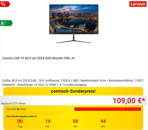 Lenovo L24i-10 60,5 cm (23,8 Zoll) Monitor  EEK: A+ - jetzt 21% billiger