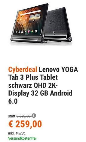 Lenovo YOGA Tab 3 Plus 10 Zoll 32GB Tablet - jetzt 13% billiger