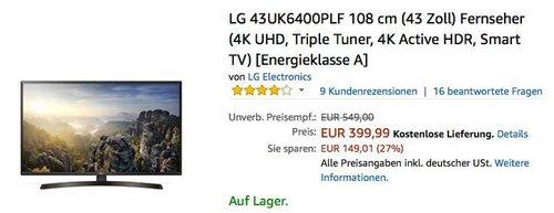 LG 43UK6400PLF 108 cm (43 Zoll) UHD Fernseher - jetzt 11% billiger