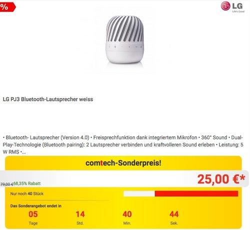 LG PJ3 Bluetooth-Lautsprecher weiss - jetzt 10% billiger