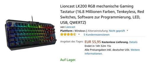 Lioncast LK200 RGB mechanische Gaming Tastatur - jetzt 27% billiger