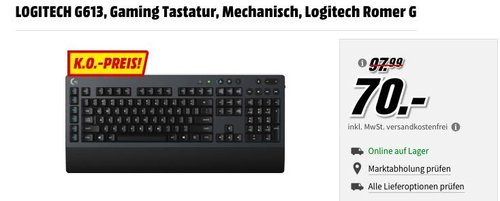 LOGITECH G613 Gaming Tastatur - jetzt 20% billiger