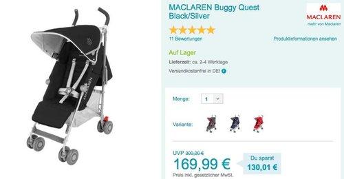 MACLAREN Buggy Quest Black/Silver - jetzt 32% billiger