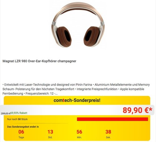 Magnat LZR 980 Champagner, Premium Over Ear Headphone - jetzt 30% billiger