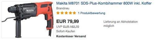 Makita M8701 SDS-Plus-Kombihammer 800W inkl. Koffer - jetzt 11% billiger