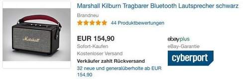 Marshall Kilburn Tragbarer Bluetooth Lautsprecher schwarz - jetzt 9% billiger