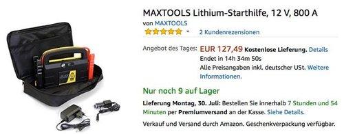 MAXTOOLS Lithium-Starthilfe, 12 V, 800 A - jetzt 30% billiger