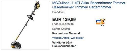 McCulloch Akku-Trimmer Li-40T - jetzt 40% billiger