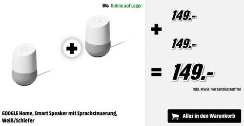 MediaMarkt 2für1 - Aktion: z.B. 2xGOOGLE Home Smart Speaker - jetzt 48% billiger