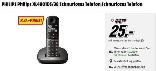 MediaMarkt FAN-OUTLET - Aktion: z.B. PHILIPS Philips XL4901DS/38 Schnurloses Telefon - jetzt 40% billiger
