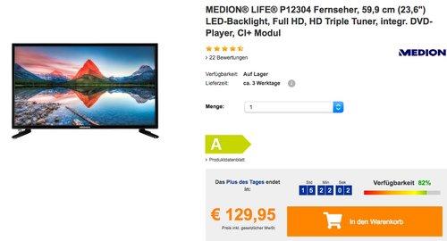 "MEDION® LIFE® P12304 Fernseher, 59,9 cm (23,6"") LED-Backlight, Full HD, HD Triple Tuner, integr. DVD-Player - jetzt 19% billiger"