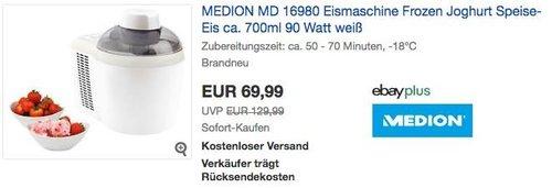 MEDION MD 16980 Eismaschine Frozen Joghurt Speise-Eis ca. 700ml 90 Watt - jetzt 30% billiger