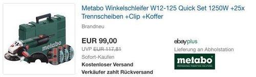 Metabo Winkelschleifer W12-125 Quick Set 1250W + 25x Trennscheiben + Clip + Koffer - jetzt 22% billiger