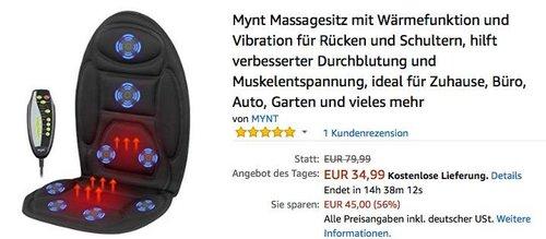 Mynt Massagesitz mit Wärmefunktion und Vibration für Rücken und Schultern - jetzt 20% billiger