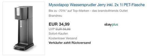 mySodapop Wassersprudler Jerry inkl. 2x 1l PET-Flasche - jetzt 36% billiger