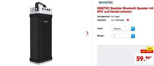 NINETEC Beatster Bluetooth Speaker mit NFC und Henkel - jetzt 25% billiger
