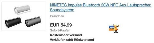 NINETEC Impulse Bluetooth 20W NFC Aux Lautsprecher, Soundsystem - jetzt 44% billiger