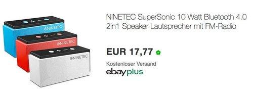 NINETEC SuperSonic 10 Watt Bluetooth Lautsprecher - jetzt 56% billiger