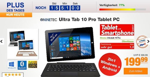 NINETEC Ultratab 10 Pro Convertible Tablet PC 2in1 Windows 10/Android - jetzt 20% billiger