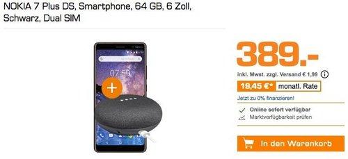 NOKIA 7 Plus DS Smartphone 64 GB Schwarz inkl. Google Home Mini gratis dazu - jetzt 7% billiger