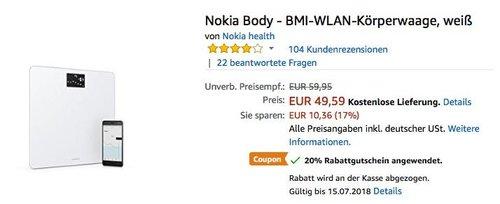 Nokia Body - BMI-WLAN-Körperwaage, weiß - jetzt 20% billiger