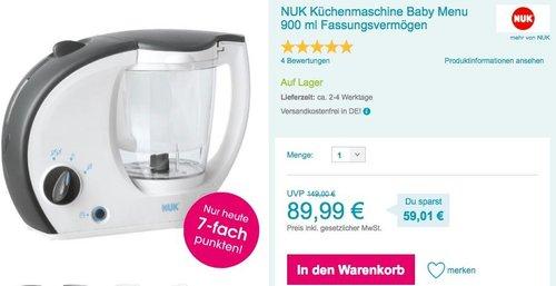 NUK Küchenmaschine Baby Menu - jetzt 17% billiger