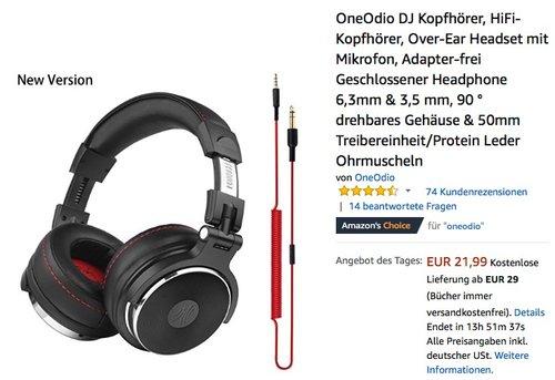 OneOdio DJ Kopfhörer, HiFi-Kopfhörer, Over-Ear Headset mit Mikrofon - jetzt 36% billiger