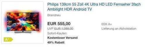Philips 139cm 55 Zoll 4K Ultra HD LED Fernseher mit 3fach Ambilight - jetzt 17% billiger