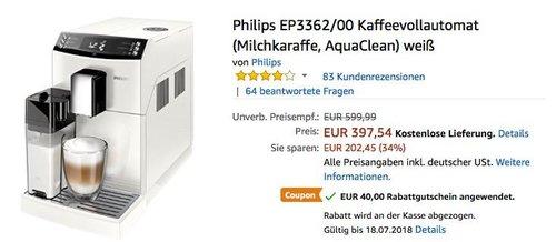 Philips EP3362/00 Kaffeevollautomat (Milchkaraffe, AquaClean) weiß - jetzt 10% billiger