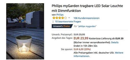 Philips myGarden LED Solar Leuchte - jetzt 20% billiger