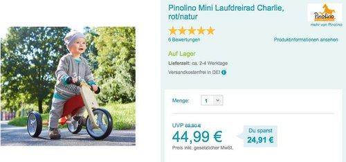 Pinolino Mini Laufdreirad Charlie rot - jetzt 10% billiger