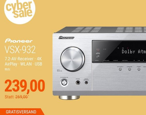 Pioneer VSX-932 7.2 AV Receiver in Silber - jetzt 11% billiger
