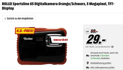 ROLLEI Sportsline 65 Digitalkamera Orange/Schwarz - jetzt 27% billiger