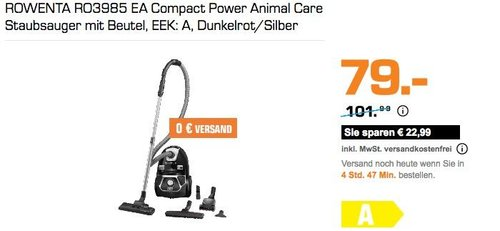 ROWENTA RO3985 EA Compact Power Animal Care Staubsauger mit Beutel - jetzt 21% billiger