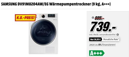 SAMSUNG DV91M8204AW/EG Wärmepumpentrockner (9 kg, A+++) - jetzt 8% billiger