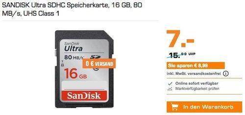 SANDISK Ultra SDHC Speicherkarte16 GB - jetzt 30% billiger