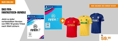 Saturn Aktion: FIFA 19 + PlayStation FC Trikot - jetzt 12% billiger