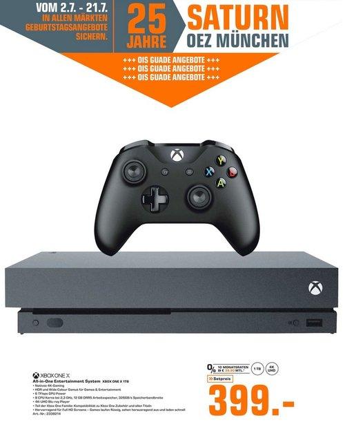SATURN München OEZ: MICROSOFT Xbox One X 1TB Standard Edition - jetzt 5% billiger