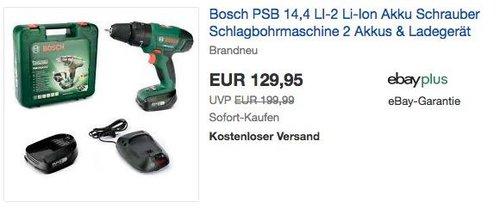 Schlagbohrmaschine PSB 14,4 LI Akku-Schlagbohrschrauber 2, 2 Akkus und Ladegerät - jetzt 13% billiger