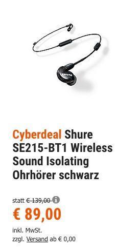 Shure SE215-BT1 Wireless Sound Isolating Ohrhörer schwarz - jetzt 17% billiger