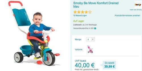 Smoby Be Move Komfort Dreirad blau - jetzt 13% billiger
