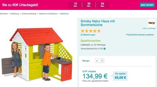 Smoby Natur Haus mit Sommerküche, 145 x 110 x 127 cm - jetzt 23% billiger