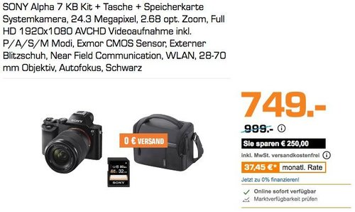 SONY Alpha 7 KB Kit Vollformat Systemkamera (Tasche + 32 GB Speicherkarte + 28-70 mm Objektiv) - jetzt 25% billiger